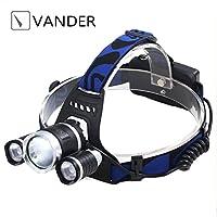 Vander ヘッドライト3X T6 2000LM CREE XM-LのLED懐中電灯ブラックSCG 18650ヘッドランプ