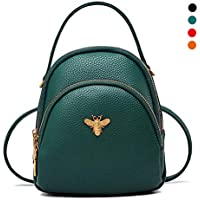Cute Mini PU Leather Backpack for Women, Small Casual Daypack Purse Student School Bag for Girls,Green