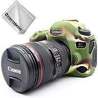 FIRST2SAVVV 緑 キヤノン Canon EOS 6D Mark II. EOS 6D MK2 専用 TPUシリコンカメラバッグ カメラケース + クリーニングクロス XJPT-6D Mark II-GJ-06G11