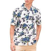 Janmid Men's Flower Casual Button Down Short Sleeve Shirt