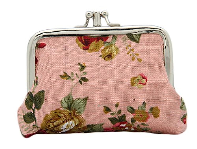 (ビグッド)Bigood 可愛い 財布 小銭入れ レディース 小物入れ コインケース 子供 雑貨 キャンバス がま口 小銭 女の子 二つ折り 花柄 ピンク
