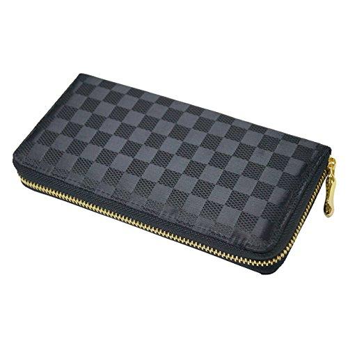 ラウンドファスナー 長財布 二つ折り チェック柄 ジャガード 財布 市松 格子 cross-wallet038 (ラウンドファスナー)