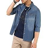 (アーケード) ARCADE デニムシャツ メンズ 細身 タイト 7分袖 ウォッシュ加工 デニム シャツ L (86)インディゴブルー【7分袖】