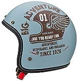 マルシン(MARUSHIN) バイクヘルメット ジェット MCJ4 フェザー オープンジェット ナチュラル ブルー Mサイズ (57-58cm) 3006544