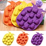 Charmed Pineapple Shaped Silicone Candy Chocolate ice Molds. Non Stick & BPA Free, Set of 3