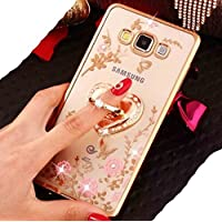 Huawei Mate8 Finger Ring Rotary Stand Case, Bling Diamonds Flying Butterfly Style Clear Blossoms Cover, WEIFA Newest Soft Shiny Bumper Very Thin Slim Case For Huawei Mate 8 Gold