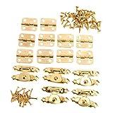 15個入りセット アンティーク調 ボックスバックル(5枚)&蝶番 ボックスのヒンジ(10枚) ボックスラッチセット 装飾 ゴールデン 手芸 手作り パーツ 金具 ネジに付き