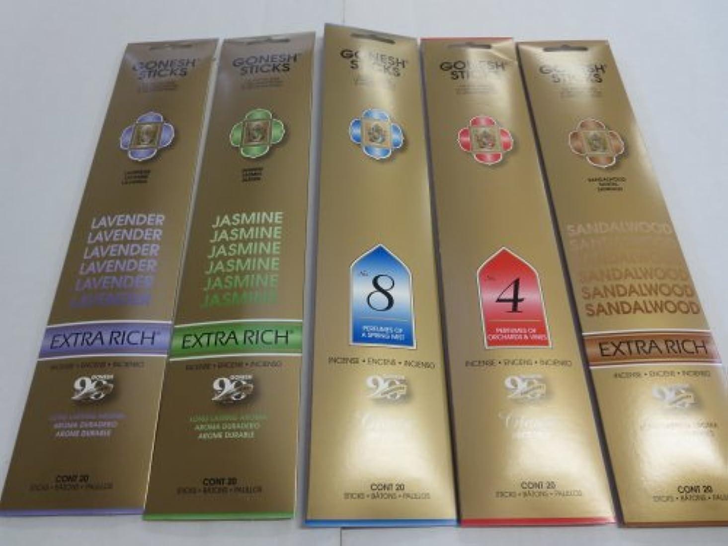 地元気配りのある捨てるGonesh Incense Sticks Variety Value Pack (100 Sticks) Lavender/Sandalwood/Jasmine/Spring Mist/Orchard & Vines
