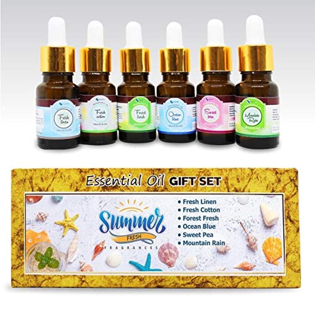 気づく付添人突進Aromatherapy Essential Oils - Pack of 6 100% Pure & Natural Therapeutic Oils - 10 ML each (Fresh Linen, Fresh...