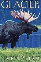 ムースat Night–グレイシャー国立公園、MT 12 x 18 Art Print LANT-14218-12x18