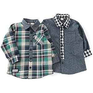 La Chiave (ラ キエーベ) 長袖シャツ (80~130cm) キムラタンの子供服 (53306-183) グリーン 100