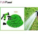 Funplaza X pipe100ftガーデンホース拡張可能なwithスプレーガンノズルシャットオフKink (グリーン)