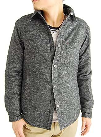 (アーケード) ARCADE 8color メンズ 中綿ダウンジャケット ネルシャツ 長袖シャツ チェックシャツ M チャコールブラック無地