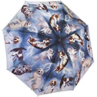 Galleria Reverse Close Folding Umbrella, Cats & Dogs with Art on Both Sides.