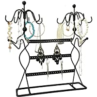 Tytroy Black Metal Jewelry Earring Necklace Bracelet Organizer Two Lady Display (Black) [並行輸入品]