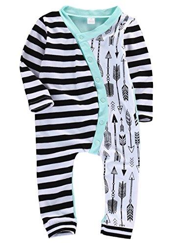 ベビーポルカドット 新生児 幼児 女の子 綿100% 矢印 ロンパース 0-2歳設定 長袖 (80cm, 緑)