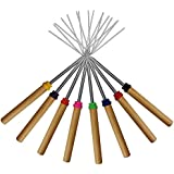 Marshmallow Roasting Sticks,KEKU Set of 8 Telescoping Rotating Smores Skewers & Hot Dog Fork Kids Camping Campfire Fire Pit Accessories