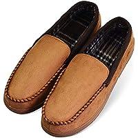 LA PLAGE 2017 Men's Non-Slip Indoor/Outdoor Microsuede Moccasin Shoes with Hardsole Bluegrey