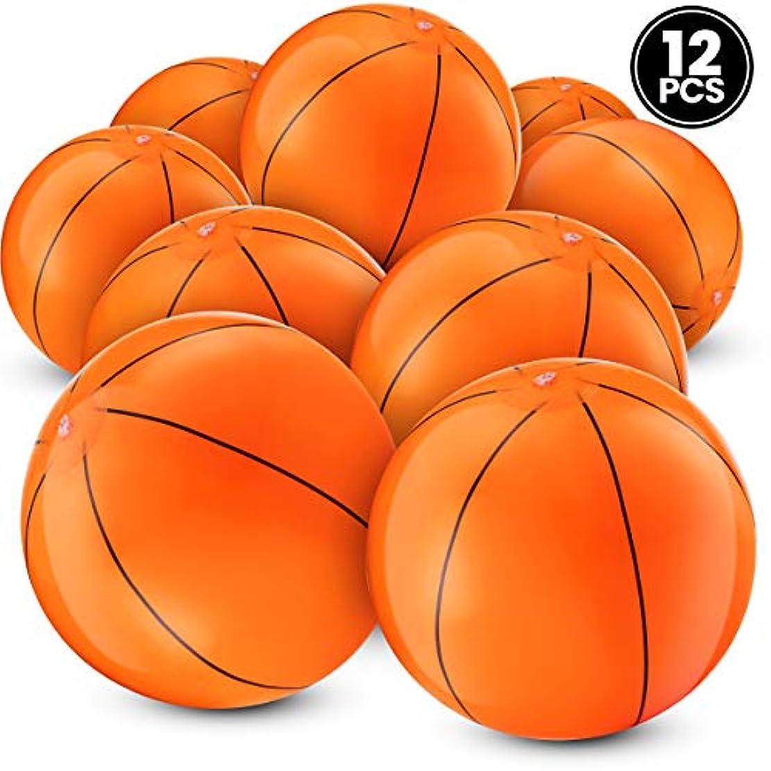 黒パラシュート損傷Inflatable Basketballs One Dozen, 41cm , For Sports Themed Birthday Parts And Beach/ Pool Party Games/ Favours