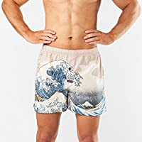 Men's 'The Great Wave' Art Printed Cotton Woven Boxer