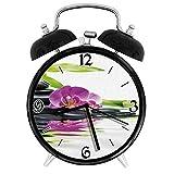 210STAR-アジアのリラクゼーション禅マッサージ石紫色の蘭と竹レトロで個性あふれる、家やオフィス用の大きなウェイクアップの目覚まし時計