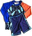 (イーアンドアール) E R 男の子 水着 キッズ ラッシュガード ハーフパンツ セット UVカット 長袖 (Orange - L)