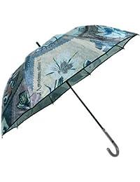 【EPICE】エピス 日本製「UVカット加工」バタフライ切手プリント 婦人長傘(雨傘) 黒