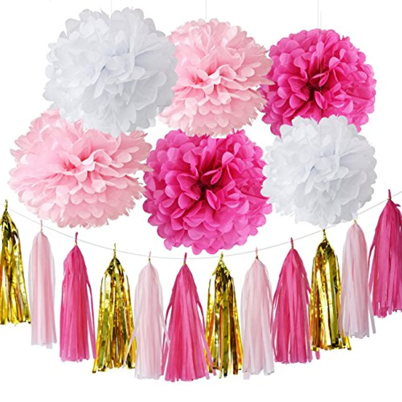Furuix 誕生日 飾り付け セット ペーパーポンポン タッセル ピンク バラ色 ホワイト 18点