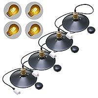 【LEDフィラメント電球4Wタイプ付き】ReUdoペンダントライト・レトロモダン (フラットタイプ) ダクトレール用・コードリール付(4個セット)