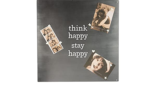Primitives by Kathy Metal Magnet Board with 9 Magnets /— Think Happy Stay Happy /— 18 x 18 inches