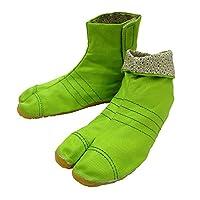 柄の裏地がお洒落なカラー足袋 ショート(グリーン・18.0cm)マジックテープ式 子供祭り足袋