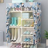 靴箱_6層ファブリック防塵ソリッドウッドの靴のキャビネット、シンプルで美しい家のアセンブリストレージラック(ブーツを置くことができます)
