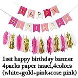 安いピンクHappy誕生日バナーホワイトTissue Paper Tassel garland Pompom誕生日デコレーションガールズボーイズキッズベビーパーティーFavors QX 562