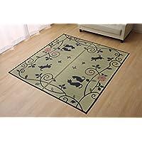 イケヒコ い草ラグ ラグ カーペット 3畳 長方形 かわいい 猫 ねこ ネコ 『DXクロネコ』 約176×230cm (裏:不織布) ♯8165410