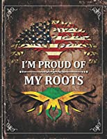 Im Proud of My Roots: Vintage Jamaica and American Flag Personalized Gift for Coworker Friend  Lightly Lined Pages Daily Journal Diary Notepad
