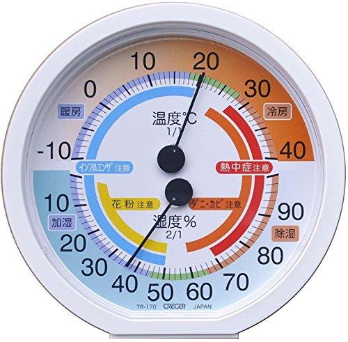 クレセル 室内用温湿度計 TR-170W(1コ入)