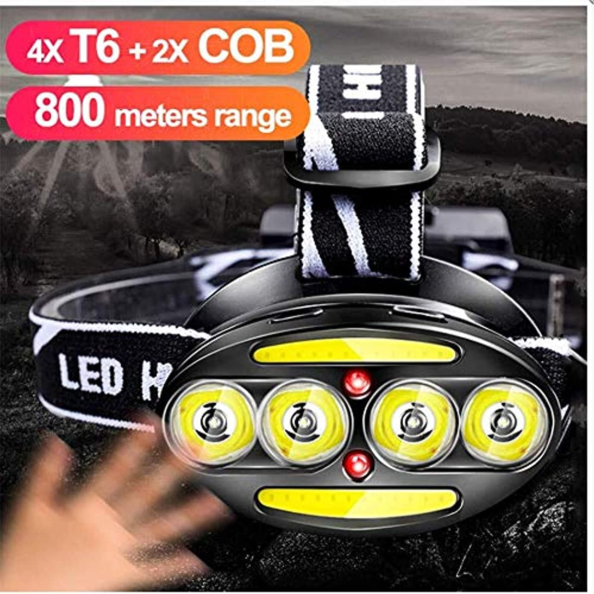徴収欠かせないケント-LEDヘッドライトヘッドライトヘッドライトセンサー40000Lm 18650充電式懐中電灯の魚のヘッドライトランタン防水LED USB ヘッドライト