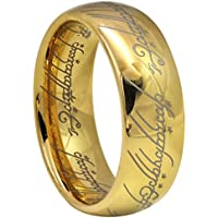Crownal 8mm Gold Lord of The Rings Tungsten Carbide Comfort Fit Size 4 to 16