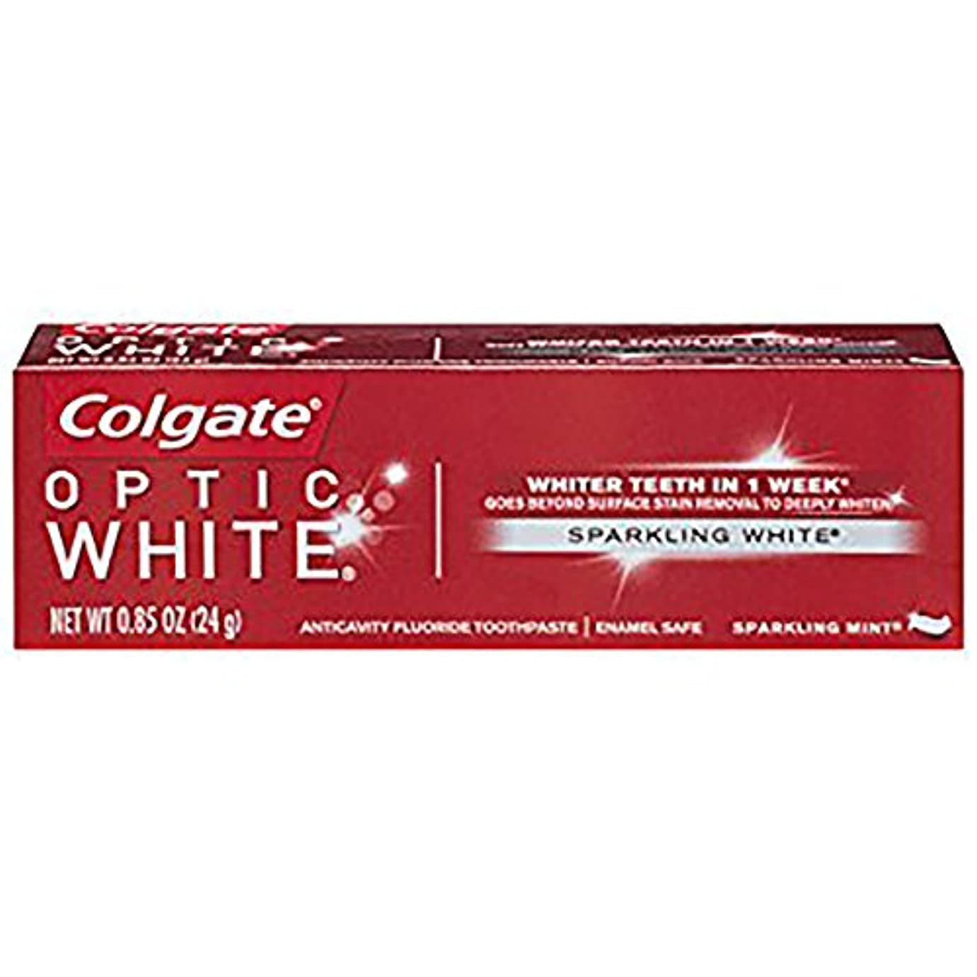 明確に間ダメージコルゲート ホワイトニング Colgate 24g Optic White Sparkling White 白い歯 歯磨き粉 ミント