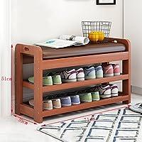 木製の靴ラックベンチ2階のホルダーオーガナイザー快適なシートストレージシェルフ廊下の居間(71 * 30 * 51センチメートル)のための多機能シェルフ (色 : A)