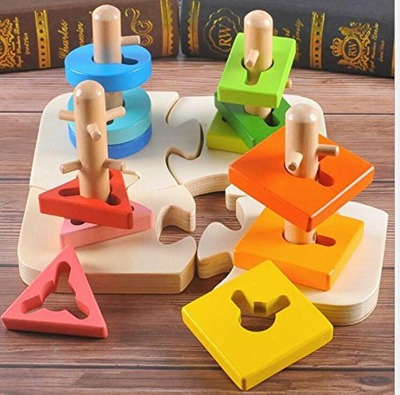 HuaQingPiJu-JP 木製のビルディングブロックコラムベビージオメトリ認知マッチングおもちゃクリエイティブギフト