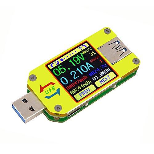 KKmoon USBテスター USB電圧電流テスター USB 3.0 タイプ - C カラーLCDディスプレイ 電流計 電圧計 電圧 電流 インピーダンス測定 (通信バージョン)