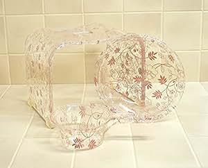 フロラリア フラワーピンク アクリル バスチェア&洗面器&手桶3点セット