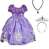 【Prin-castle】プリン-カステル 子供ドレス キッズ 子ども お姫様 ワンピース なりきり ちいさなプリンセス ソフィア ドレス、ティアラ、ネックレス3点セット かわいいドレス子供 誕生日プレゼント (110cm)