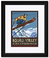 NorthwestアートMall Squaw Valley CaliforniaスキージャンパーFramedアートプリントbyポール・A Lanquist。 9x12 / 15x19 inch PAL-5890 NFMF-EA