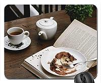 ケーキ、紅茶、カフェの本ゲームマウスパッドコンピューターマウスパッド