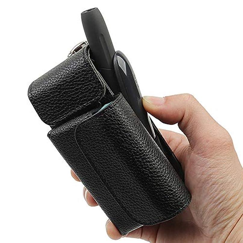情熱ダブル咽頭iQOS3ケース アイコススリーケース 高級なPUレザー 電子たばこケース ヒートスティック 収納 「簡単取り出しケース」 まとめて収納 (ブラック)