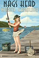 Nagsヘッド、ノースカロライナ州–釣りピンナップ 24 x 36 Signed Art Print LANT-44934-710