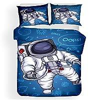 3セットの寝具、3Dプリント寝具、スペース、羽毛布団カバーを含む宇宙飛行士のパターン、枕カバー,B,220*230