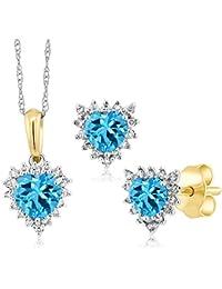 Gem Stone King 1.53カラット 天然トパーズ(スイスブルー) 天然ダイヤモンド 18金 Two Toneゴールド(K18) 天然ダイヤモンド ペンダント&ピアスセット